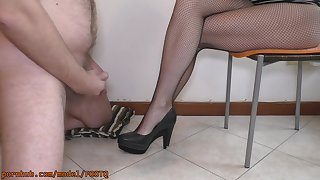 He Is So Exited With My Feet In Fishnets And Sexy Shoes That Cums Out of reach of Them
