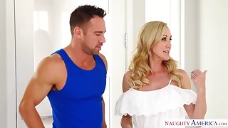 Indiscretion watering housewife Brandi Love seduces young hot plumber Johnny Castle