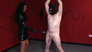 Covered man plays obedient for thirsty mistress