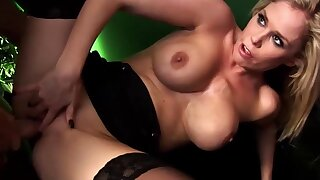 Alicia in foursome gangbang - Blonde slut with big fake bosom
