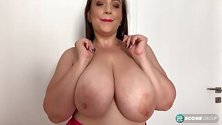 Dear BBW mom plays with her monster boobs go-go - solo