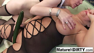 Brunette matures get each other lacking with vegetables