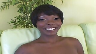 Ebony mom with giant big naturals in bush-league hardcore with cum on tits