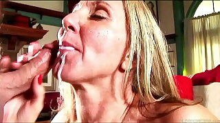 Glum mature lady thither stockings sucks and fucks for a facial cumshot