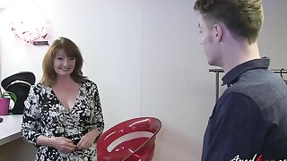 Convenient youngster enjoying hardcore fun with mature lady which seduced him