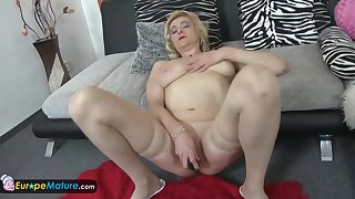 EuropeMaturE Busty Blonde Mature Solo Masturbation