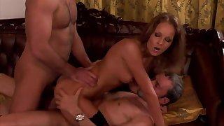 Sexy milf works two dicks like a true goddess of porn