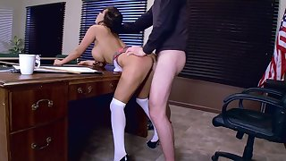 Serious teacher hardcore sex with a busty college babe
