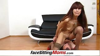 A guy is eating old hairy pussy of skinny granny Lada