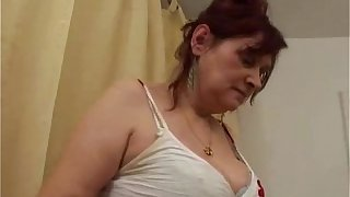 Busty hairy granny gets banged