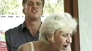 Ficky Martin fucks a blonde hairy granny very hard  on the hotel desk