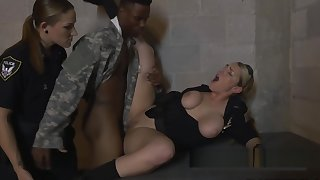 Mock soldier shoves his big black weasel words in milf cops horny coochies