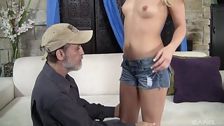 After wild sex Megan Charming is on her knees waiting be advantageous to a facial