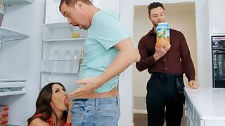 Wife's big pair seduced nanny to fuck hardcore