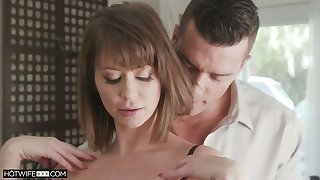 Stunning wife Emily Addison takes cumshots essentially boobies after passionate coition