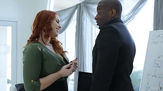 Wondrous redhead Edyn Blair desires to gain some delight from interracial sex