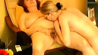 An age-old granny fucked by a young lesbian
