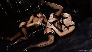 Lesbians Suzie Carina and Zoe McDonald have a threesome with a friend