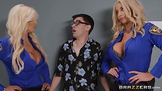 Nerdy guy fucked Brittany Andrews & Nicolette Shea