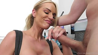 Blonde woman near huge tits, greatest time show in a big dick like that