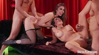 Shakedown Mac with an increment of her best friend Lena Paul fucked by two dudes