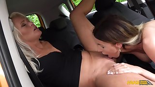Sweet amateur lesbians in low-class oral sex scenes in the car