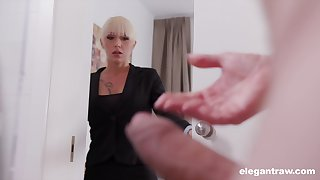 Christina catches her business right hand jerking off increased by decides to help him
