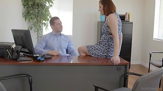 Secretary is insightful nearly shake boss's strapping dick for a raise