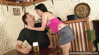 teen girl seduces old geezer in burnish apply pub